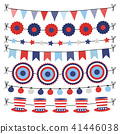 Set of bunting paper flags garlands. Party decorations, web banners in USA flag colors. Isolated 41446038