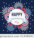 Happy Independence day, 4th July national holiday. Festive greeting card, invitation with fireworks 41446041
