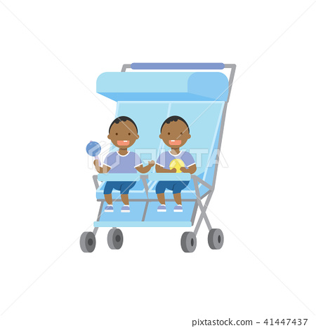 african baby with toys twins double blue stroller full length avatar on white background, successful 41447437