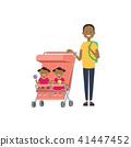 family, cartoon, stroller 41447452