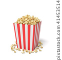 3d rendering of a square striped popcorn bucket with popcorn overflowing of it. 41453514