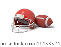3d rendering of a red American football helmet lying near a red oval ball on a white background. 41453524