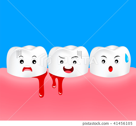 Cute cartoon tooth character with gum problem.  41456105