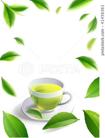 Black tea cup with mint leaves isolated. 41456361