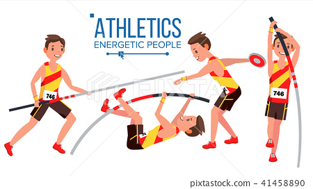 Athletics Player Male Vector. Athletic Sport Competition. Sports Equipment. Sprinter. Sprint Start 41458890