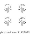 Jellyfish icon outline stroke set design 41459935