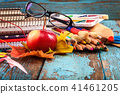 School, office supplies on a wooden background 41461205