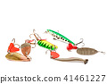 Fishing lure with hooks on white background 41461227