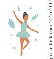 Summer poster. Dancing girl and tropical leaves 41462092