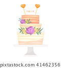 Wedding cake pie vector hand drawn style sweets dessert bakery ceremony delicious dessert sweet 41462356