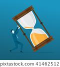 Businessman Pushing Big Hourglass From Falling. 41462512