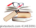 Open book and glasses on a stack of books 41463091