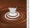 milk swirl splash on chocolate waves background 41463464