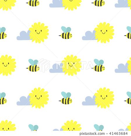 Clouds sun weather bee vector cloudy summer blue sky season design seamless pattern background 41463684