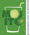 mojito name with lime slice, mint leaf  41464026