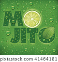 mojito name with lime slice, mint leaf  41464181