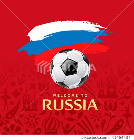 Soccer Ball and Flag of Russia paint brush design 41464484