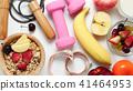 Oatmeal flakes, milk, fresh fruits on background 41464953