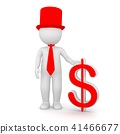 3D Rendering of a man holding a dollar sign 41466677