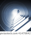 Abstract round blue tunnel with glowing end 41470642
