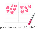Hearts love couple symbol hand drawing by pen 41470675
