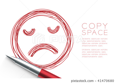 Sad face symbol hand drawing by pen sketch red 41470680