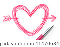 Heart with arrow symbol hand drawing by pen sketch 41470684