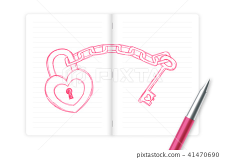 Heart lock and key chain love couple symbol 41470690