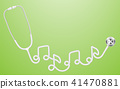 Stethoscope white color and music note sign symbol 41470881