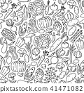 Vegetable pattern Stationary kids hand drawing 41471082