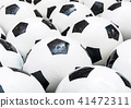 Many black and white soccer balls background. Football balls in a water 41472311
