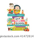 Boy and girl sitting on piles of books. Back to school 41472614
