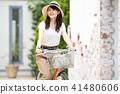 자전거 젊은 여성 자전거 여행 41480606