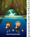 Under Cave Scuba Diving Scene 41483201