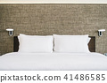 White pillow on bed decoration interior 41486585