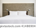 White pillow on bed decoration interior 41486904