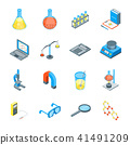 Science Tools and Elements 3d Icons Set Isometric View. Vector 41491209