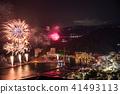 (静冈县)热海的夜景100万美元和海上烟花 41493113