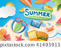 summer with paper cut symbol for vacation beach 41493913