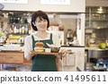 คาเฟ่ร้านเสมียนแฮมเบอร์เกอร์หญิง 41495611