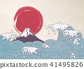 波浪飛濺富士山日本紙 41495826