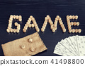 Word Game from wooden barrels and cards 41498800
