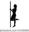 Striptease performer woman on tube icon black 41500066