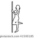 Striptease performer woman on tube icon black 41500185