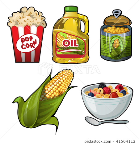 Set of tasty and useful food of corn isolated on white background. Vector cartoon close-up 41504112