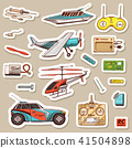 Children toys constructor. Vintage aircraft, boat, ship and car, RC transport, remote control models 41504898