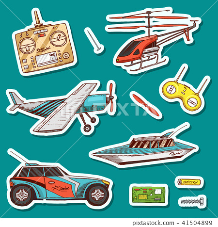 Children toys constructor. Vintage aircraft, boat, ship and car, RC transport, remote control models 41504899