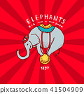 Circus elephant badge. Performance on the ball. Vintage Carnival logos or emblems. Label for the 41504909