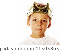 little cute boy wearing crown isolated close up on white 41505865