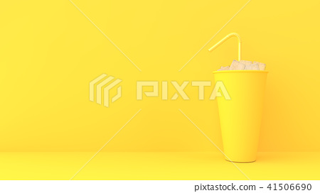 paper cup on yellow pastel background 41506690